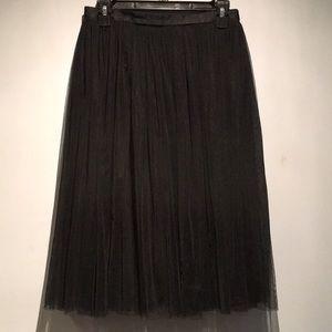 Needle & Thread Black Tulle Midi Skirt Size 6